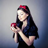 Beautiful Snow White with an apple Royalty Free Stock Image