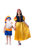 Beautiful Snow White and funny gnome holding hands Stock Photography