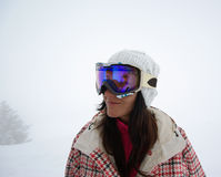 Beautiful snowboarder. Image of mountain panorama made after powder day stock photos