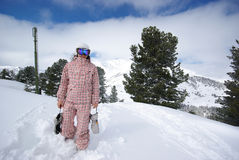 Beautiful snowboarder. Picture of snowboarder made after powder day stock photo