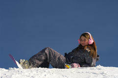 Beautiful snowboarder girl Stock Photography