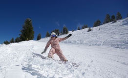 Beautiful snowboarder jumping. Picture of a snowboarder on sunny day stock images