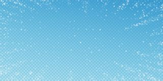 Beautiful snowfall Christmas background. Subtle fl. Ying snow flakes and stars on transparent blue background. Alive winter silver snowflake overlay template vector illustration