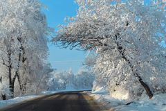 Beautiful snowfall sunny road trip in winter holidays. Process in dangerous driving into winter wonderland. Beautiful snowfall sunny road trip in winter royalty free stock image
