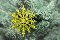 Beautiful snowflake on a Christmas tree Stock Photo