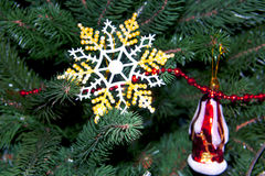 Beautiful snowflake on a Christmas tree Stock Image