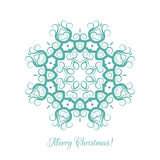 Beautiful snowflake pattern. Decorative ornament for Christmas card. Mandala. Vector illustration. Stock Photos
