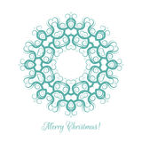 Beautiful snowflake pattern. Decorative ornament for Christmas card. Mandala. Vector illustration. Royalty Free Stock Images