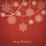 Beautiful Snowflakes card. Beautiful Christmas card with snowflakes. Vector red background Royalty Free Stock Photography