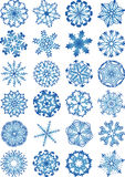 Beautiful snowflakes icon set Royalty Free Stock Photography