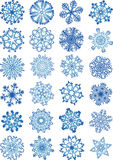 Beautiful snowflakes icons set Royalty Free Stock Photography