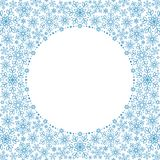Beautiful snowflakes round frame with white space for text placement. Circle Decorative vector frame template for text placement. Dense packed background with Stock Photo
