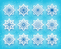Beautiful Snowflakes Set for Winter Season in Snowy Stock Photography