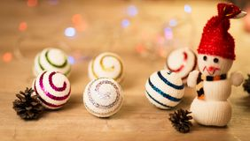 Beautiful snowman with Christmas balls Stock Images