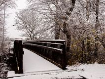 The bridge to grandma`s house. A beautiful snowy day in Mount Airy, North Carolina fun for all Stock Image