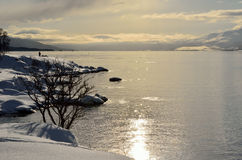 Beautiful snowy landscape with golden sunrise and calm fjord royalty free stock photography