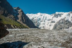 Beautiful snowy mountains, Russian Federation, Caucasus,. July 2012 royalty free stock photography