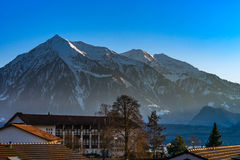 Beautiful snowy mountains, sunny day in Alps Stock Photos