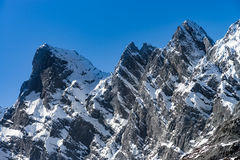 Beautiful snowy mountains, sunny day in Alps Royalty Free Stock Images