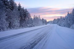 Beautiful snowy road in winter landscape Royalty Free Stock Photography