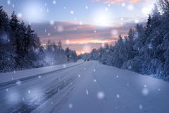 Beautiful snowy road in winter landscape.  Stock Images