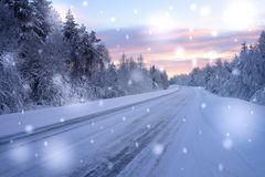Beautiful snowy road in winter landscape.  Royalty Free Stock Image