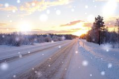 Beautiful snowy road in winter landscape.  Royalty Free Stock Photography