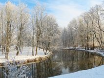 River Sysa and snowy trees in winter , Lithuania Royalty Free Stock Photos