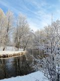 River Sysa and snowy trees in winter , Lithuania Stock Photos
