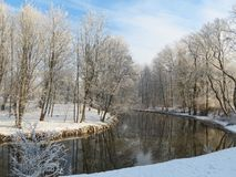 Beautiful snowy trees and river in winter, Lithuania stock images