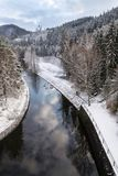 Beautiful snowy winter forest landscape, Tepla River under Brezova dam royalty free stock image