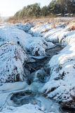 Beautiful snowy winter landscape with frozen river Royalty Free Stock Photography