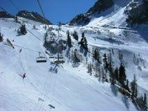 Beautiful snowy winter landscape in a mountain ski resort Royalty Free Stock Image