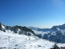 Beautiful snowy winter landscape in a mountain ski resort, panoramic view Stock Images