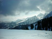 Beautiful snowy winter landscape in a mountain ski resort, panoramic view Stock Photography