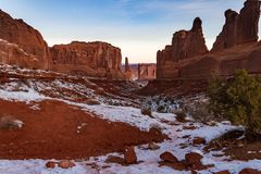 Beautiful Snowy Winter`s View Of `Park Avenue In Arches National Park In Moab, Utah Royalty Free Stock Photo