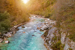 Beautiful Soca river at autumn in the Triglav National Park Royalty Free Stock Photo