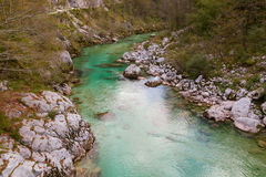 Beautiful Soca river at autumn in the Triglav National Park Royalty Free Stock Photography