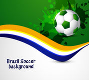 Beautiful soccer ball Brazil colors concept wave Stock Image