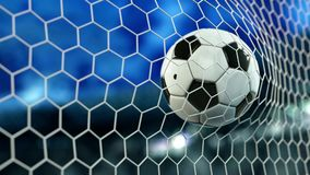 Beautiful Soccer Ball flies into Goal Net in Slow Motion. Football 3d animation 4k