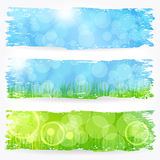 Beautiful soft bokeh painted nature banner set royalty free illustration
