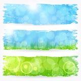 Beautiful soft bokeh painted nature banner set Royalty Free Stock Image