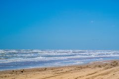 A beautiful soft and fine sandy beach along the gulf coast of Texas in South Padre Island, Texas stock images