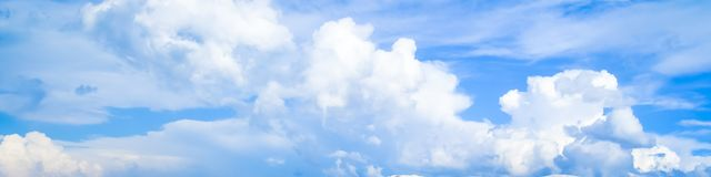 Beautiful soft flying white clouds against blue sky in kolkata. A panoramic. Image royalty free stock photography