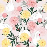 Beautiful soft and gentle oreintal blooming flowers with hand dr. Awing white swan bird in seamless pattern ,vector for fashion fabric and all prints on light Vector Illustration