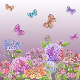 Beautiful soft hydrangea flowers and colorful butterflies on gradient pink background. Square template. Seamless floral pattern. Watercolor painting. Hand Royalty Free Stock Photo