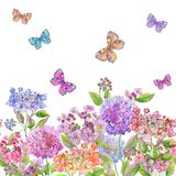 Beautiful soft hydrangea flowers and colorful butterflies on white background. Square template. Seamless floral pattern. vector illustration