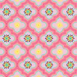 Beautiful pastel pink decorated Moroccan seamless pattern with colorful floral designs. Beautiful soft pink decorated Moroccan seamless pattern with colorful stock illustration