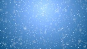 Beautiful soft snowfall seamless on blue gradient 3d animation. Looped white snowflakes falling cg with dof blur stock video