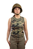 Beautiful soldier girl Stock Photography